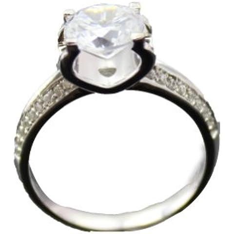 Jade forma di angelo, in argento Sterling, 0,7 ct a taglio rotondo e diamanti Anello di fidanzamento