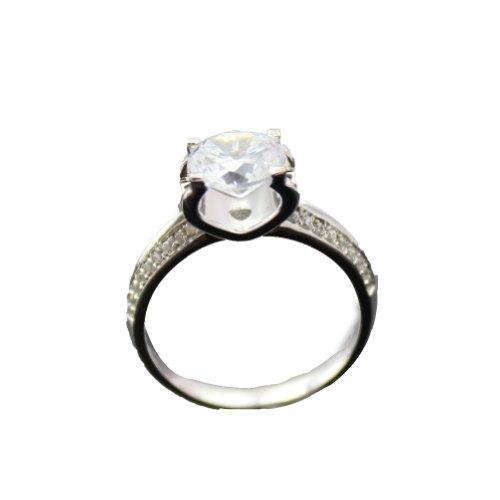 Jade Angel Sterling Anello di Fidanzamento D'argento con 7mm Rotonda Cubic Zirconia