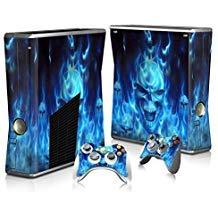 Skin Sticker für Xbox 360 Slim Konsole und Controller Blue Fire Skull