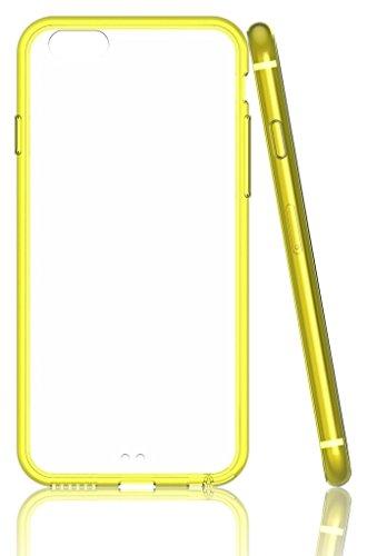 EASYPLACE® - Cover case - Telaio colorato e posteriore trasparente - FUCSIA - IPHONE 6 -Flessibile e resistente Giallo