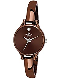 Swisso Analogue Round Dial Brown Plated Bracelet Women 's Wrist Watch