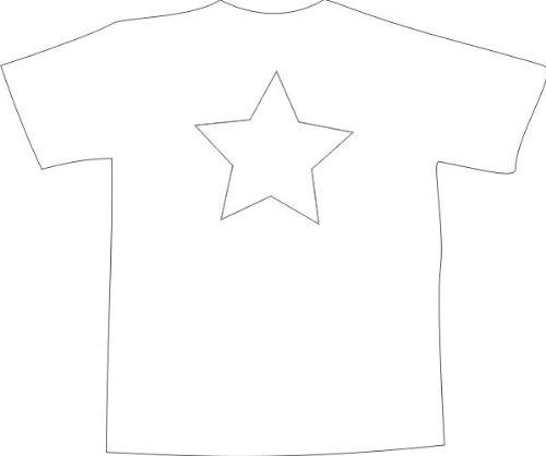 T-Shirt F612 Schönes T-Shirt mit farbigem Brustaufdruck - transparent Sterne Schwarz