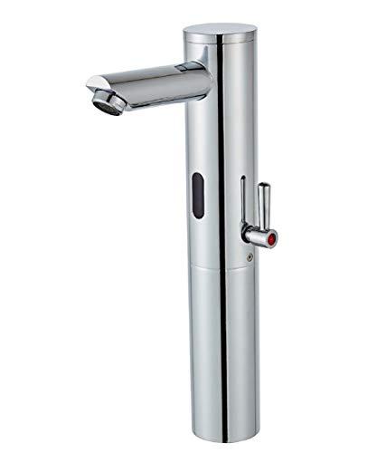 Gangang - Grifo monomando para lavabo con sensor de infrarrojos automático, de cuerpo alto, para agua fría y caliente, solo DC