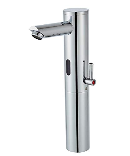 Gangang - Grifo monomando para lavabo (sensor de infrarrojos, automático, para agua fría y caliente, DC solamente)