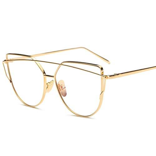 Aprigy - Fashion Cat Eye Brillen für Frauen Gläser Männer Optische Linse Gläser Metallrahmen Sonnenbrillen weiblich Jahrgang Transparente Gläser [Gold]