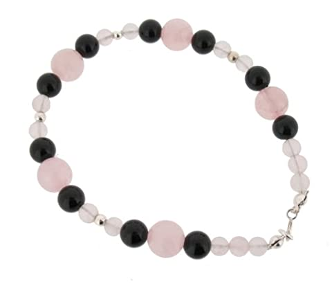 Earth Rosenquarz und Onyx Perlen Armband Schwarz at 19 cm