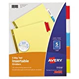 "Best Avery Dividers - Avery Dennison Big Tab Insertable Dividers,11""X8-1/2"",5-Tab,Buff/Multi by AveryA?AR Review"
