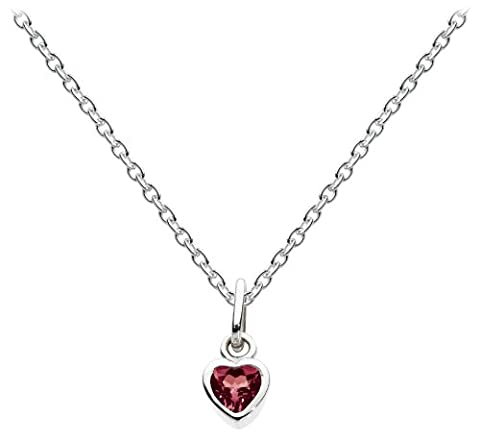 Dew Women's Sterling Silver and Garnet Heart Necklace of Length
