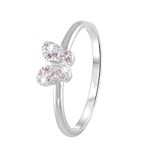 Lucardi – Silberner Kinderring Schmetterling mit rosa Zirkonia für Kinder – Silber