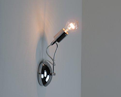 LAMPADA PARETE APPLIQUE DESIGN MODERNO CROMO ILLUMINAZIONE INTERNI SALONE (Illuminazione interna)