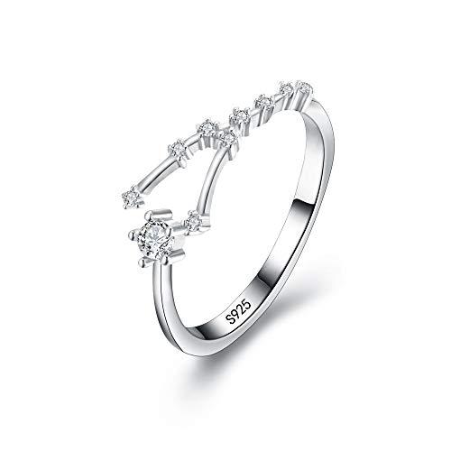 Clearine Damen Ring 925 Sterling Silber CZ Horoskop Tierkreis 12 Konstellation Astrologie Verstellbar Statement Geburtstagsgeschenk