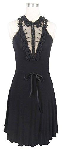 Robe noire épurée avec décolleté en dentelle et ruban, gothique romantique, victorien Noir