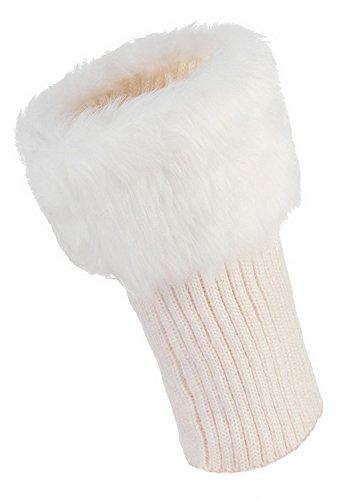 La vogue Damen Faux Pelz Kurz Stulpen Strickstulpen Legwarmer Socken Boot Abdeckung Weiß