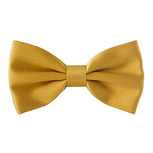 Bow Tie House Real Silk Classic Pre-Tied Bow Tie Formal Solid Tuxedo, by (Medium, Gold) - Pretied Bow Tie