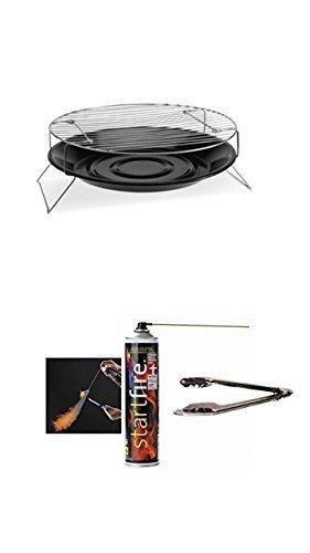 Tisch Top Tragbarer Grill 36 cm Holzkohle-Grill rund BBQ Grills für Camping Garten picninc & Outdoor + Startfire - Anzünder für Ofen, Grill und Kamin - TESTSIEGER - 300 ml … (Set 5)