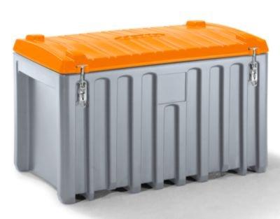 Preisvergleich Produktbild CEMO Universalbox aus Polyethylen - Inhalt 400 l, Traglast 250 kg grau / orange - Ablagebox Box Materialbox Mehrwegbox Transportbox Transportkiste aus Kunststoff Werkzeugbox