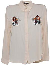 635b418574 Camicia Donna Nude Beige Velata in Viscosa con Stemmi di Tigre Cucite  Altezza Petto Moda Trasparente