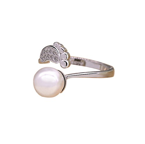 Cdet Open Ring Women Cute Pearl Footprint Size Adjustable Ring Lady Jewelry Accessories Love Gift