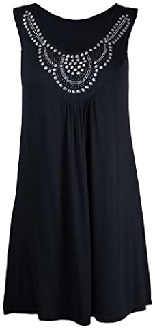 Purple Hanger - Débardeur Tunique T-shirt Long Femme Encolure Ronde Perles Clous Strass Sans Manche Grande Taille Neuf - 42, Noir