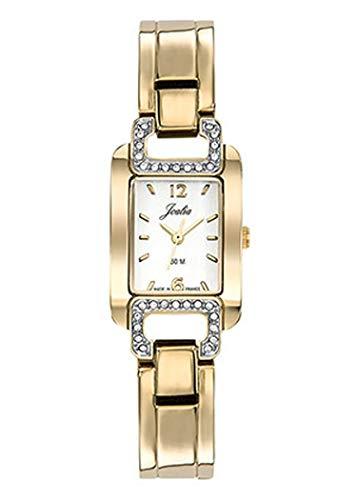 Joalia H630M604 - Orologio da donna con cinturino in metallo dorato, quadrante bianco, pietre bianche