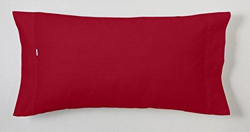 ESTELA - Funda de Almohada Combi Liso Cala Color Burdeos - 1 Pieza de 45x155 cm - 100% Algodón - 144...