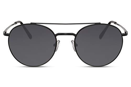 Cheapass Sonnenbrille Rund-e Schwarz Doppelte Nasenbrücke UV-400 Designer-Brille Männer Frauen