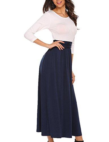 Meaneor Damen Elegant Maxikleid Abendkleid Cocktailkleid Kontrast Kleid 3/4 Arm Jersey Bodenlang Tailliert Rundhals Hersbt Winter Gr.S-XXL Dunkleiblau