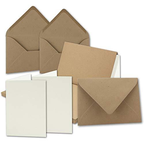 """10x Vintage Kraftpapier Falt-Karten Set mit Umschlägen und Einlegern Din A6-105 x 148 mm - Braun - Recycling - Blanko I Umwelt by Gustav NEUSER"""""""