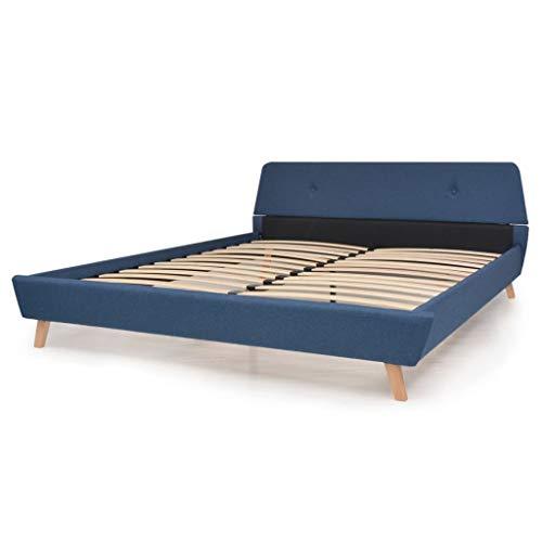 Tidyard- Bettgestell mit Lattenrost Stoff Bettrahmen Schlafzimmer Holzbett 160 x 200 cm Blau