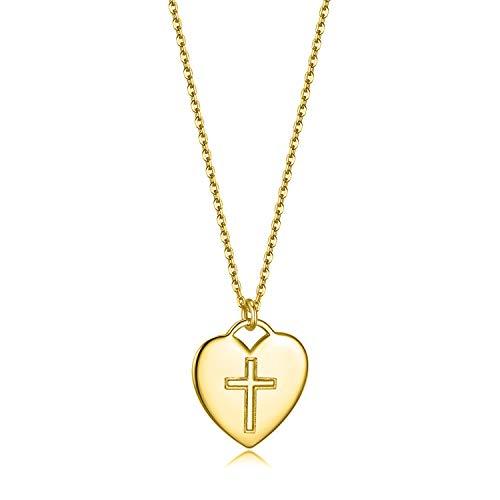 Damen Schmuck Kreuz Halskette Vergoldet 925 Sterling Silber Einstellbar Herz Anhänger