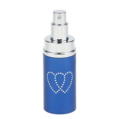 Sharplace Vaporisateur de Parfum Vide en Métal Bouteille Cosmétique à Pompe Rechargeable Atomisateur Portatif de Jet de Lotion 50ml pour Voyage - avec Strass en Forme Cœur - Bleu
