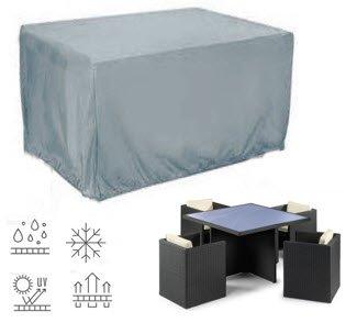 HBCOLLECTION Housse pour salon de jardin 4 places carré 125cm H72cm polyester coloris gris