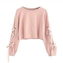 Frauen Sweatshirt,Teenage Mädchen Casual Lace Up Langarm Pullover Crop Top Moginp (S, Rosa)