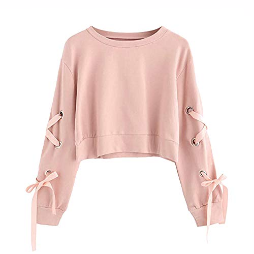 Frauen Sweatshirt,Teenage Mädchen Casual Lace Up Langarm Pullover Crop Top Moginp (S, Rosa)