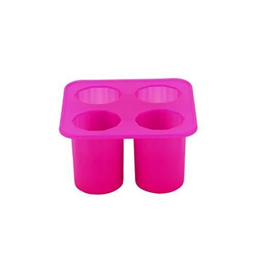Aploa Eiswürfelbereiter mit zylindrischer Form Eiswürfelschale Aufbewahrungsbehälter für Eiswürfelformen, Lebensmittel Grade Eiswürfelbehälter, Oktoberfest Halloween Weihnachten Karneval (Pink)
