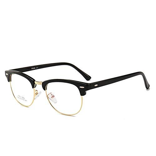 Männer Frauen Mode Retro Frame Plain Glass Spectacles C1 schwarzes Gold