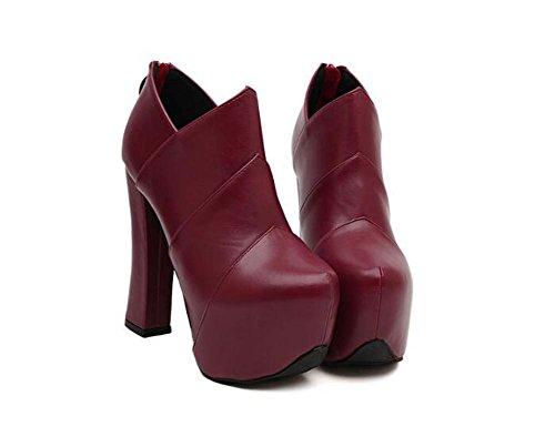 Donne 14cm Chunkly Heel Pointed Toe Stivali Martin Boots Stivali 6.5cm Spessore Piattaforma Stitching Zipper Stivali Stivaletti Scarpe Corte Scarpe Eu Dimensioni 34-39 ( Color : Red , Size : 34 )