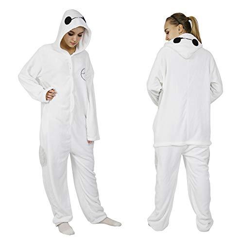 JYLW Damen Schlafanzug Erwachsene Einteilige Onesie Einhorn Halloween Kostüme Für Frauen Monster Hooded Winter Warme Frauen Tier Pyjamas, Baymax Pyjamas, XL
