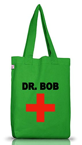 Karneval Fasching Arzt Ärzte Jutebeutel Tasche Earth Positive Dr. Bob Kelly Green