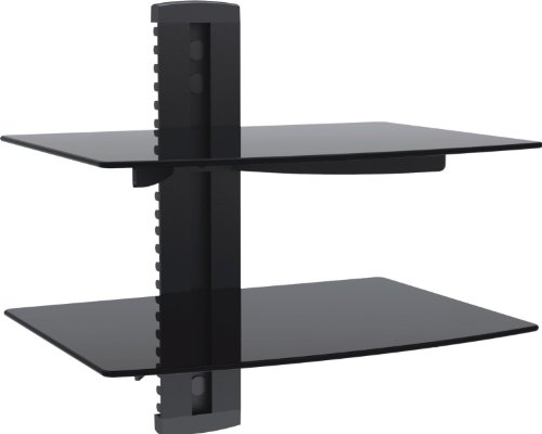 1home Multimedia Wandregal TV Rack Wandhalterung für DVD Player Glasregal Wandboard mit 2...