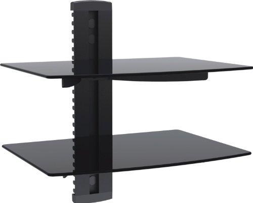 1home Multimedia Wandregal TV Rack Wandhalterung für DVD Player Glasregal Wandboard mit 2 Glas-Ablagen Sicherheitsglas und Kabelmanagement-System Schwarz