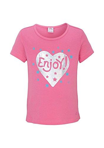 s.Oliver Mädchen T-Shirt 53.504.32.2317, mit Print, Gr. 104 (Herstellergröße: 104/110), Rosa (pink 4418)