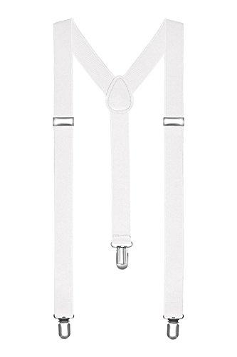 Boolavard Herren Damen Long Hosenträger Y Form Style 3er Clips elastisch Schmal Unifarbe und Bunt mit verschiedenen Motiv (Weiß)