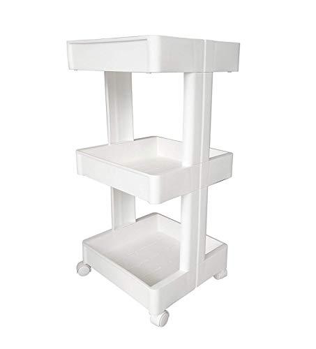 :glenmore carrello plastica multiuso carrellino da cucina da bagno bianco 3 ripiani con ruote