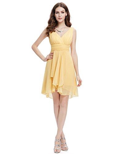 Ever Pretty Robe de cocktail courte mousseline en V-col High-low 03644 Jaune - Jaune