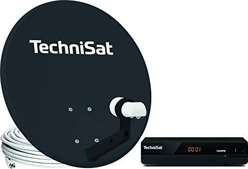 TechniSat TechniTenne 60 Satellitenschüssel Komplett-Set (60 cm Satelliten-Komplettanlage mit Masthalter, Universal Twin-LNB für bis zu zwei Teilnehmer und 1x Sat-Receiver HD-S 221) anthrazit