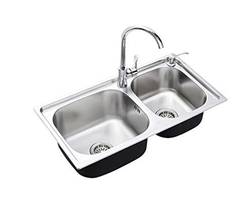 WFL Edelstahlspüle Spülbecken Waschbecken Wasserhahn Spüle Wasserhahn,1,1