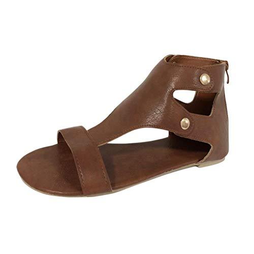 T-shao Frauen Sommer Sandalen Mode Flache Freizeitschuhe Mode Lässig Atmungsaktiv Bequeme Roma-Schuhe (Color : Braun, Size : 34 EU) -