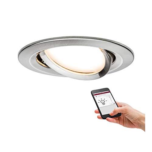 Paulmann 92958 SmartHome Zigbee Einbauleuchte LED Coin Nova Plus 1x6,5W dimmbar Eisen gebürstet
