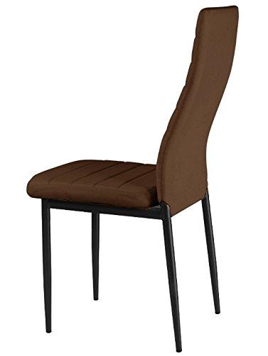 FOB Import Lot de 4 chaises Pulp Blanches Faux Cuir, Chocolat, 40x56x97 cm
